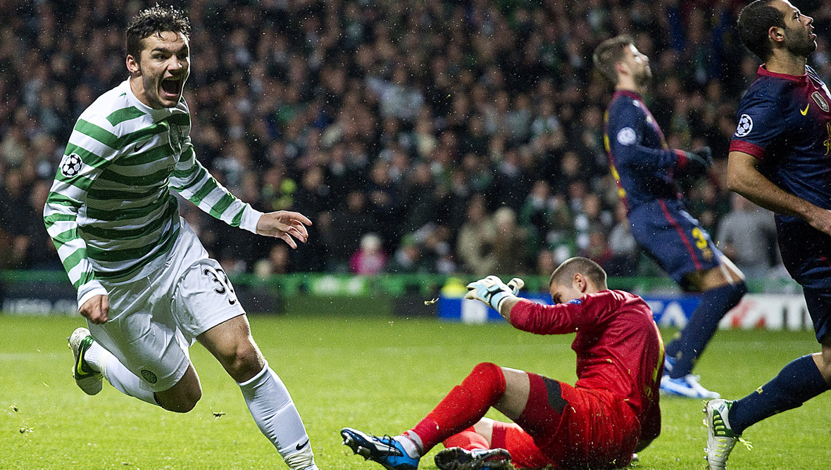 Tony Watt scores the winner against Barcelona