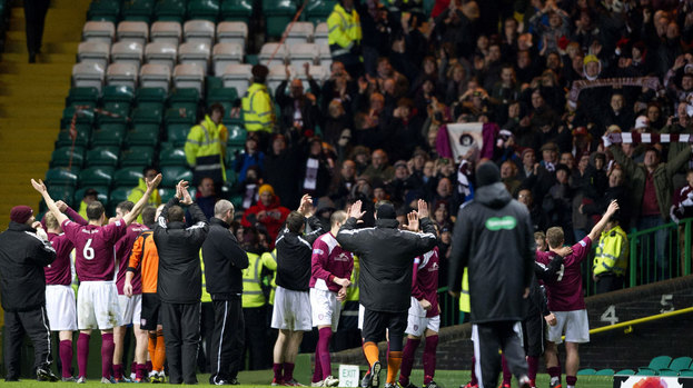 170887 arbroath players and staff celebrate in front of their jubilant support Live football streaming: Watch Arbroath v Celtic (Scottish FA Cup)