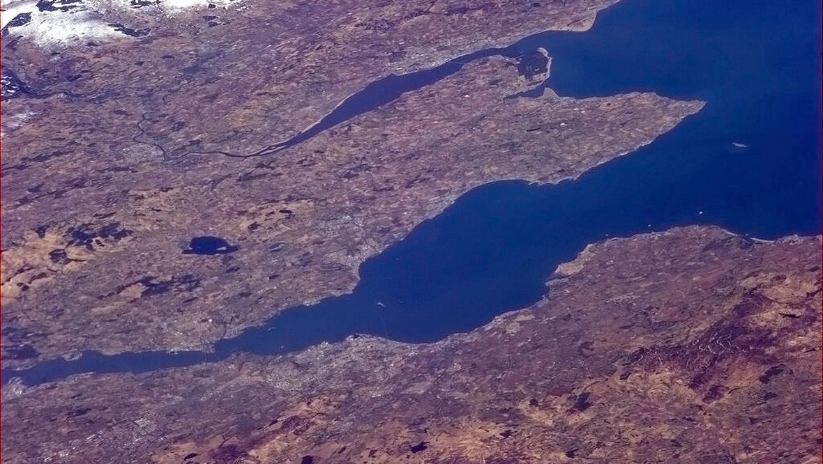 Edinburgh to Dundee from the International Space Station
