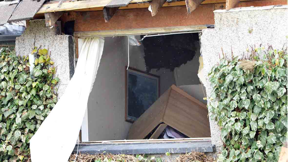 Window of house destroyed by explosion in Callander