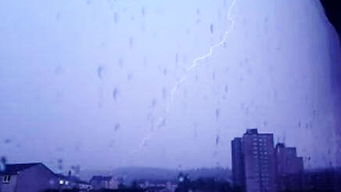 Lightning strike over Inverclyde/Greenock