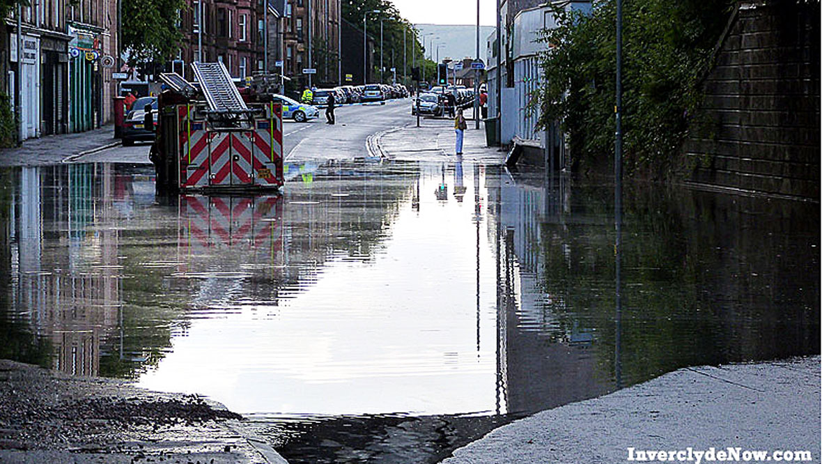 Flooding in Brougham Street, Greenock